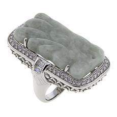 Jade of Yesteryear Carved Jade and CZ Sterling Silver Rectangular Ring