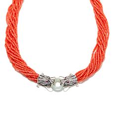 Jade of Yesteryear Coral Bead Torsade Dragon Necklace