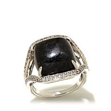 Jade of Yesteryear Cushion Cut Charcoal Jade & CZ Ring