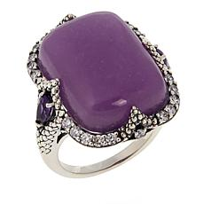 Jade of Yesteryear Cushion-Cut Lavender Jade, Amethyst and CZ Ring