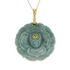 Jade of Yesteryear Gold-Plated Carved Jade Flower Pendant with Chain