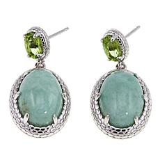 Jade of Yesteryear Green Jade and Peridot Drop Earrings