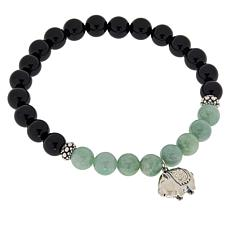 Jade of Yesteryear Jade and Agate Pig Stretch Bracelet