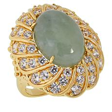 Jade of Yesteryear Jade and Cubic Zirconia Scalloped Ring
