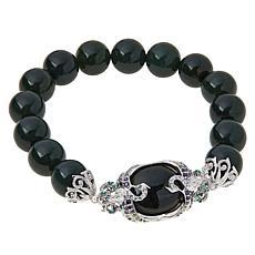 Jade of Yesteryear Jade and CZ Beaded Scroll-Design Stretch Bracelet