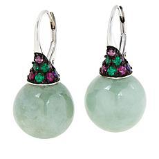 Jade of Yesteryear Jade Bead, CZ and Created Gem Pavé Drop Earrings