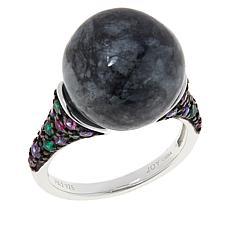 Jade of Yesteryear Jade Bead, CZ and Created Gem Pavé Ring