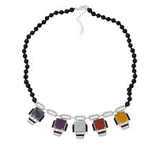 Jade of Yesteryear Multi-Color Deco Station Black Agate Bead Necklace