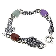 Jade of Yesteryear Multi-Color Jade and CZ Dragon Bracelet