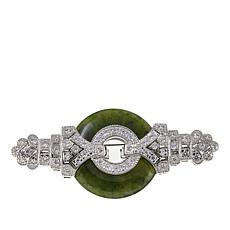 Jade of Yesteryear Nephrite Jade and CZ Art Deco Brooch