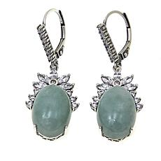 Jade of Yesteryear Oval Green Jade and CZ Drop Earrings