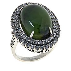 Jade of Yesteryear Oval Jade and Cubic Zirconia Double Frame Ring