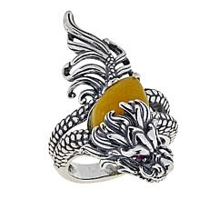 Jade of Yesteryear Ruby and Yellow Jade Dragon Ring