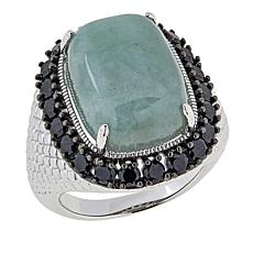 Jade of Yesteryear Sterling Silver Burmese Jade and Black Spinel Ring
