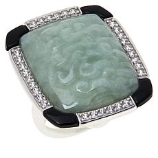 Jade of Yesteryear Sterling Silver Carved Jade & CZ Cushion Deco Ring