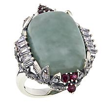 Jade of Yesteryear Sterling Silver CZ and Rhodolite Accent Ring