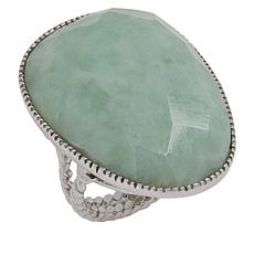 Jade of Yesteryear Sterling Silver Faceted Jade Ring