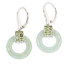 Jade of Yesteryear Sterling Silver Green Jade and Peridot Earrings