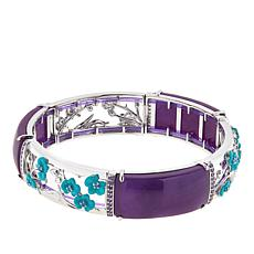 Jade of Yesteryear Sterling Silver Jade and Enamel Stretch Bracelet