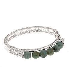Jade of Yesteryear Sterling Silver Jade Bead Scroll Bangle Bracelet