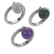 Jade of Yesteryear Sterling Silver Multi-Color Jade Bead Ring Set