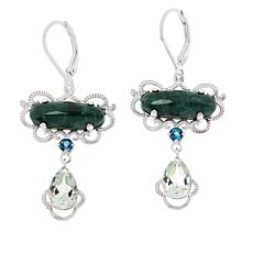 Jade of Yesteryear Sterling Silver Multi-Gem East/West Drop Earrings