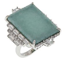 Jade of Yesteryear Sterling Silver Rectangular Jade and CZ Ring