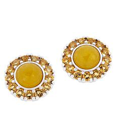 Jade of Yesteryear Yellow Jade and Citrine Stud Earrings