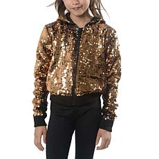 Jake and Anna Girls Cropped Copper Sequin Bomber with Hood