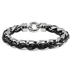James Michael Men's Stainless Steel Black Matte Bold Link Bracelet