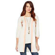 Jamie Gries Embroidered Floral Kimono Cardigan