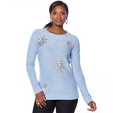 Jamie Gries Floral Embellished Neck Sweater