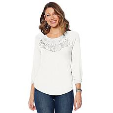 Jamie Gries Macrame Peasant Top