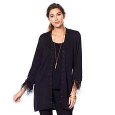 Jamie Gries Studded V-Neck Duster with Ostrich Feather Trim