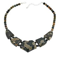"""Jay King 18"""" Sea Flower Stone and Petrified Wood Necklace"""
