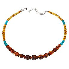 "Jay King 18"" Sterling Silver Amber and Turquoise Beaded Necklace"
