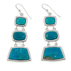 Jay King 3-Stone Blue Ridge Turquoise Drop Sterling Silver Earrings