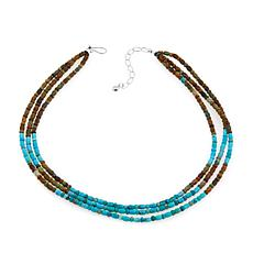 "Jay King 3-Strand Brown and Blue Turquoise 18"" Necklace"