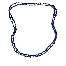 "Jay King 60"" Sterling Silver Lapis and Black Spinel Bead Necklace"