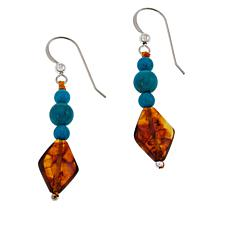 Jay King Amber and Azure Peaks Turquoise Beaded Earrings