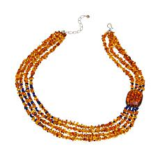 "Jay King Amber and Lapis 4-Strand 20""  Necklace"