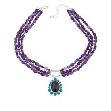 Jay King Amethyst and Turquoise Sterling Silver Pendant with Necklace