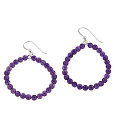 Jay King Amethyst Bead Hoop Drop Sterling Silver Earrings