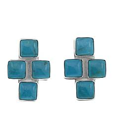 Jay King Andean Blue Turquoise Cross Sterling Silver Earrings