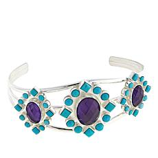 Jay King Angel Peak Turquoise and Amethyst Cuff Bracelet