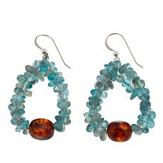Jay King Apatite and Amber Drop Sterling Silver Earrings