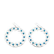Jay King Azure Peaks Turquoise Sterling Silver Hoop Drop Earrings