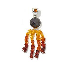 Jay King Black Agate and Amber Tassel Pendant