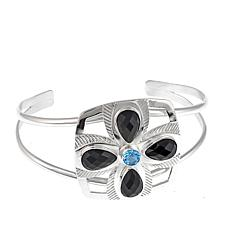 Jay King Black Agate and Blue Topaz Sterling Silver Cuff Bracelet
