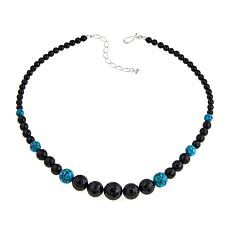 "Jay King Black Agate and Turquoise Bead 20"" Sterling Silver Necklace"